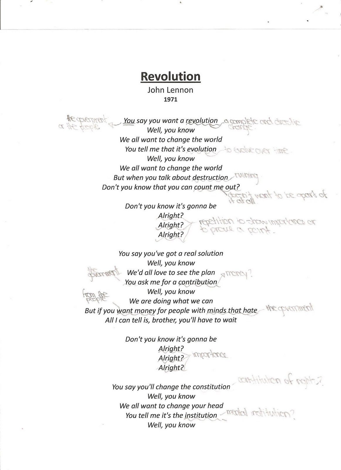 song analysis on revolution by john