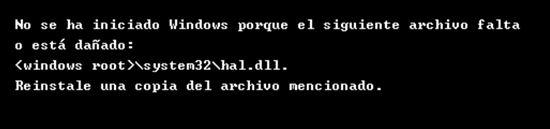 No se ha iniciado Windows porque el siguiente archivo falta o está dañado hal.dll