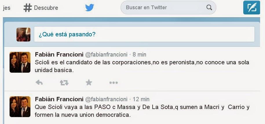 Francioni contra Scioli en twitter