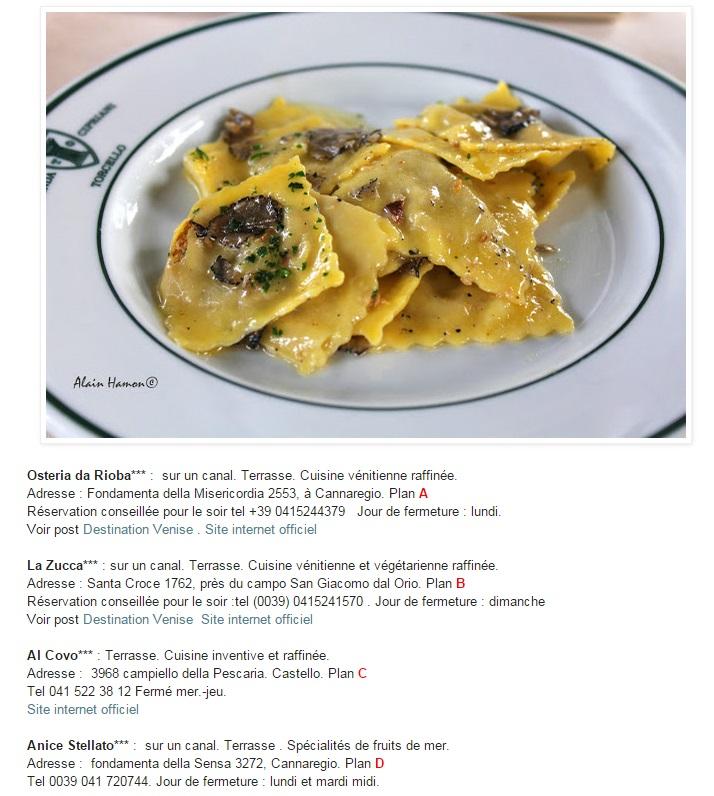 Les restaurants de Venise