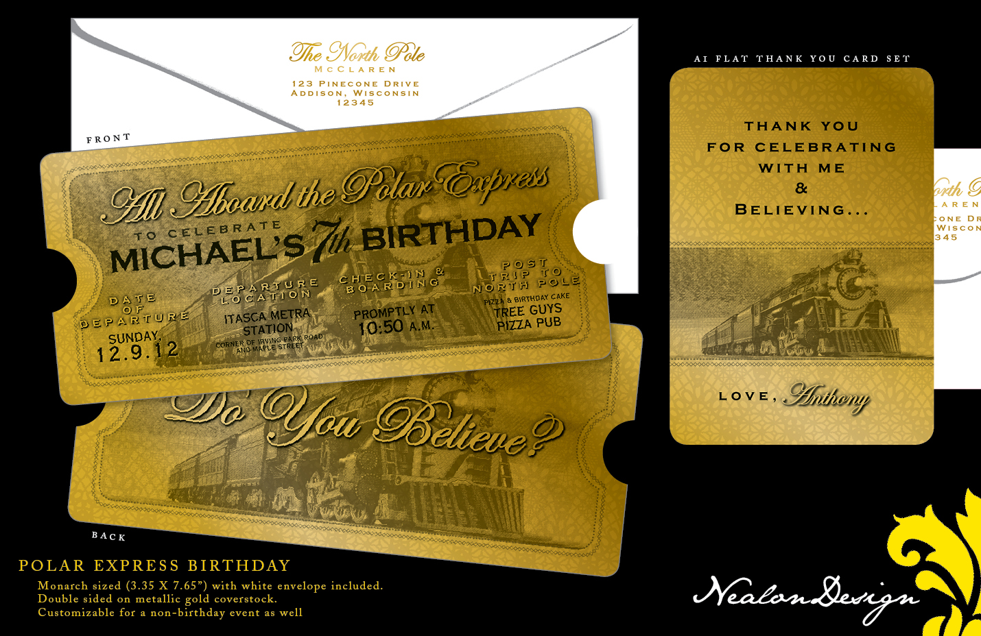 POLAR EXPRESS Birthday . Ticket Invitation