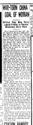"Climbing My Family Tree: ""War-torn China goal of woman"" Findlay Republican Courier, 13 December 1937, p3"