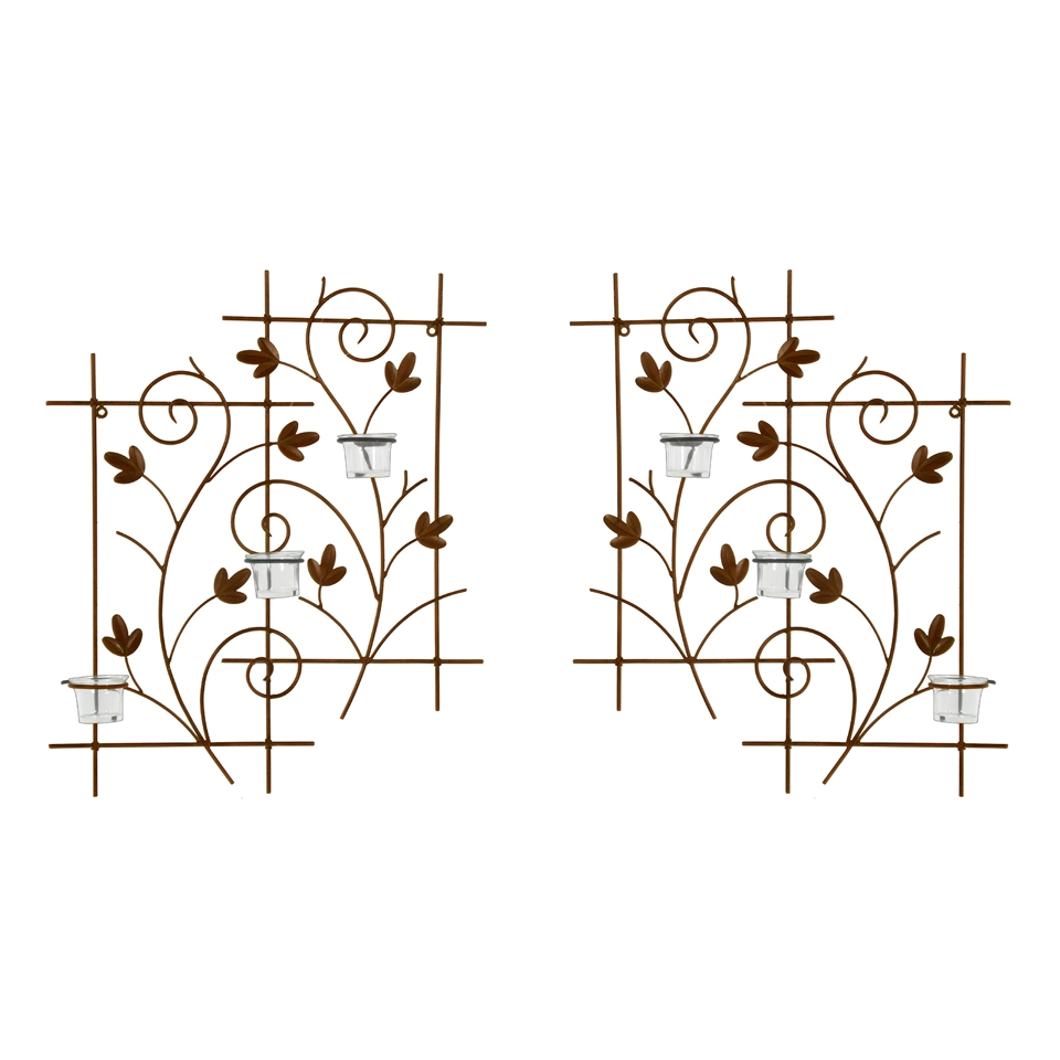 Wrought Iron Wall Decor Candle Holders : Wrought iron candle wall sconce votive holder set