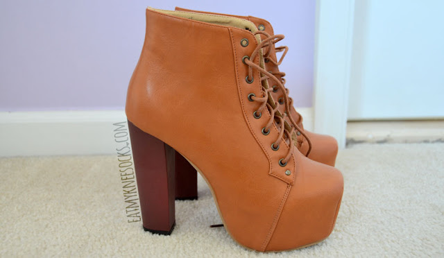 Side view of the high-heel camel faux-leather platform booties from Milanoo, a dupe of the Jeffrey Campbell Lita booties.