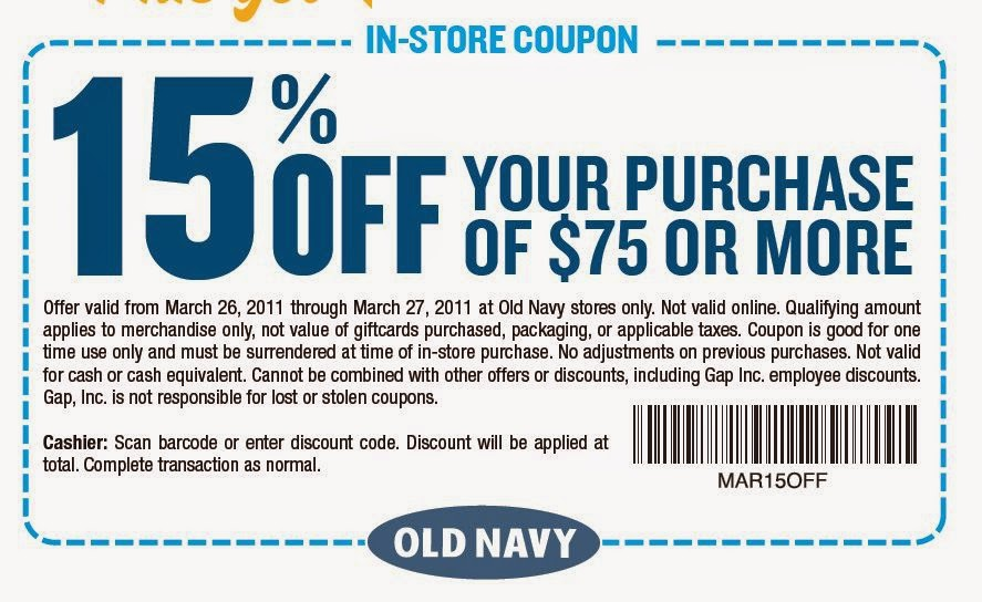 old navy printable coupons 15% OFF 2014