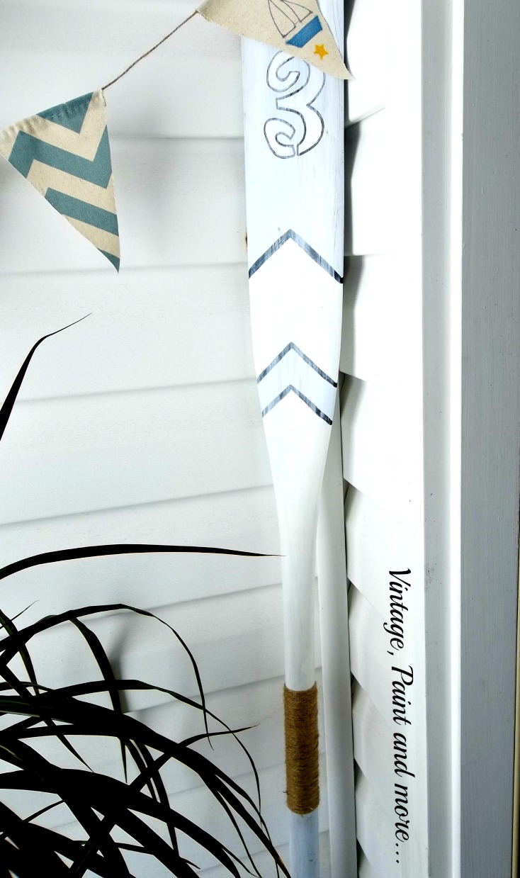 Vintage, Paint and more... painted boat oar, stenciled boat oar, nautical banner, boat oar decor