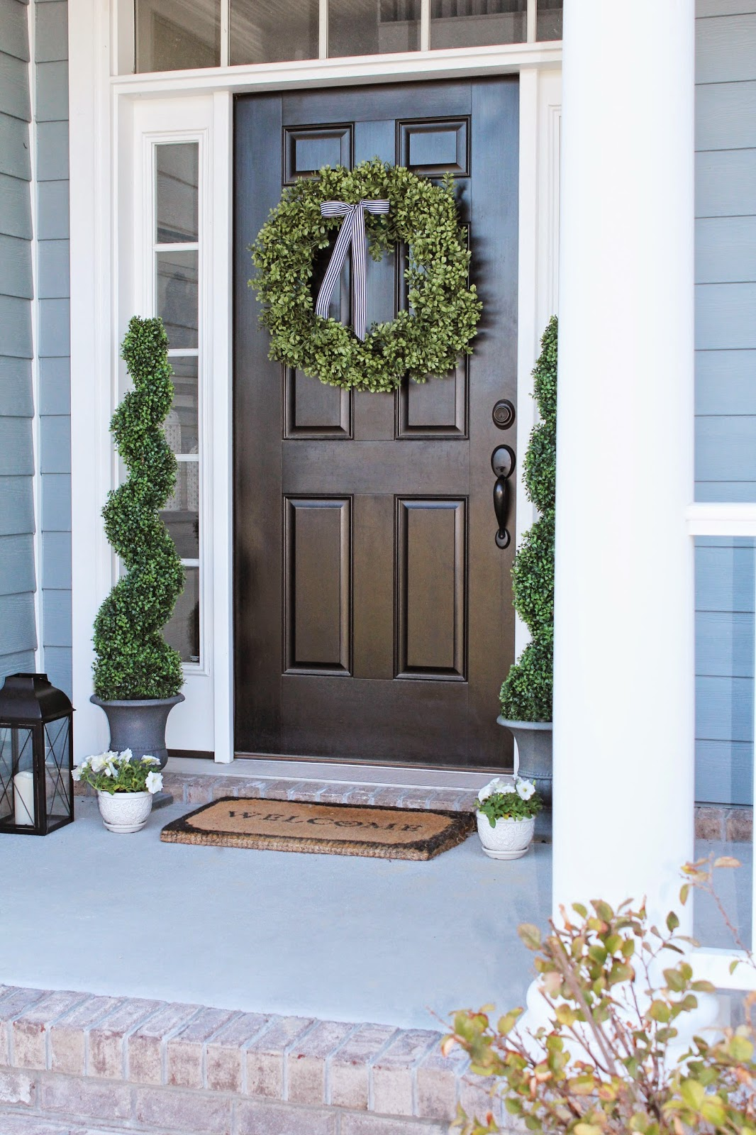Decorating your front porch, Topiaries, Boxwood Wreath, Laterns, Planters