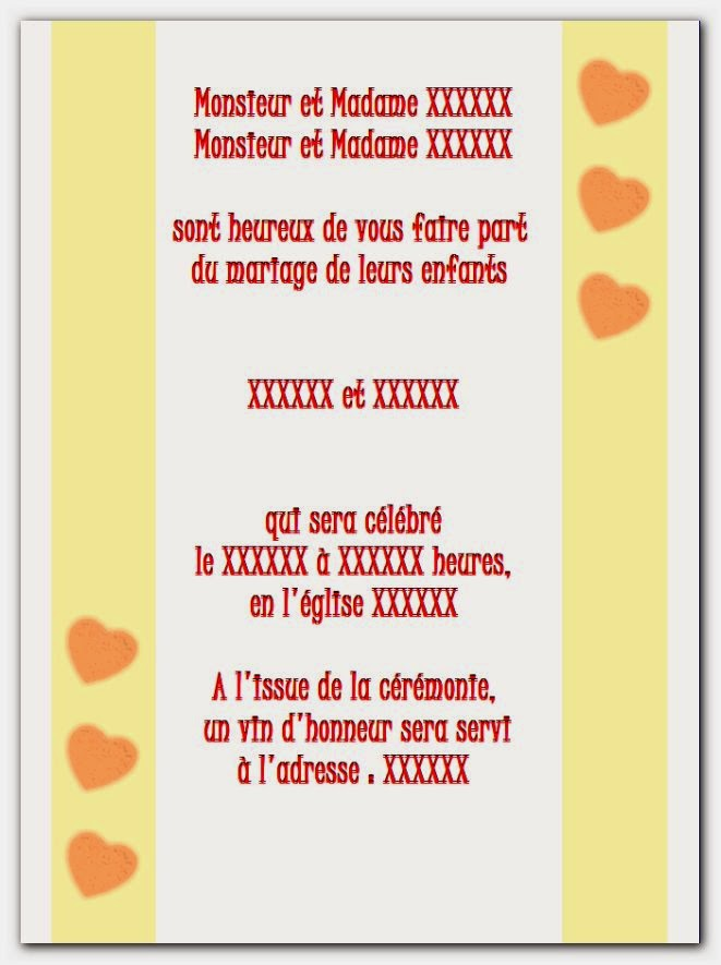 Model carte invitation mariage