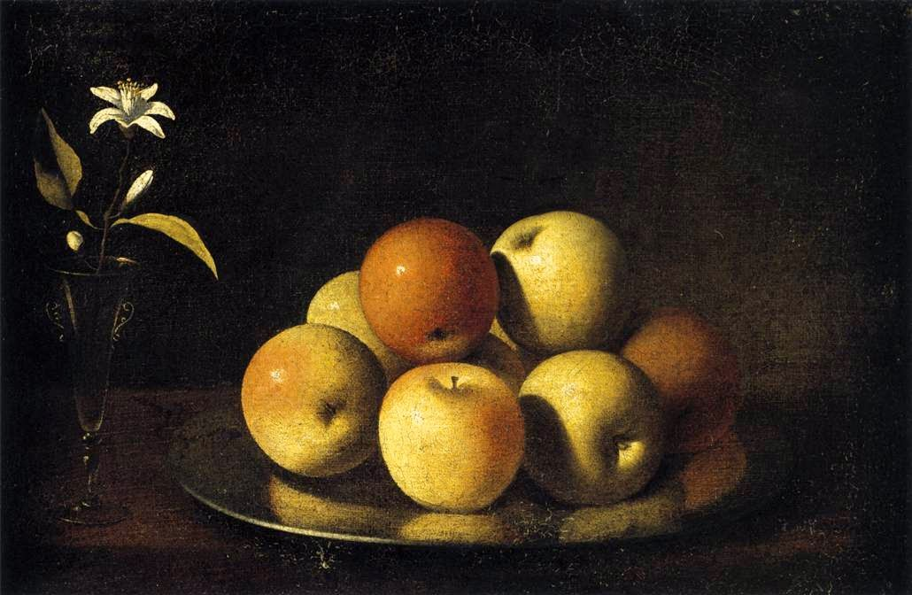 Zurbaran - Still-Life with Plate of Apples and Orange Blossom. circa 1640