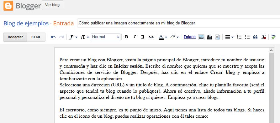 Cómo publicar una imagen correctamente en mi blog de Blogger