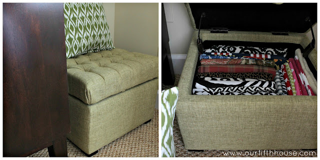 Our Fifth House - storage ottoman for fabric samples