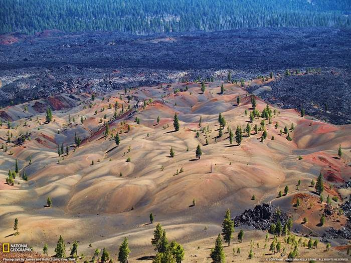 James and Kelly Stone made this amazing shot of dunes covered with trees in Lassen National Park.