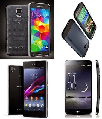 Samsung Galaxy S5, Sony Xperia Z2, HTC One M8 y LG G Flex