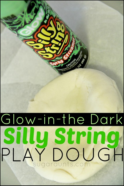 Make your own glow in the dark play dough using silly string! It really glows! This would be fun for a Halloween party.