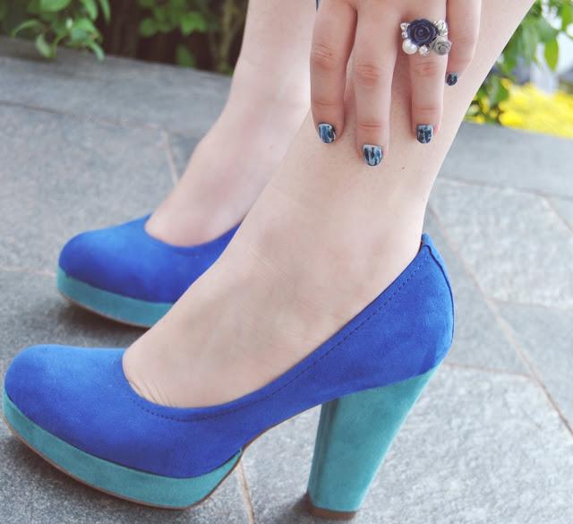 blue color block heels