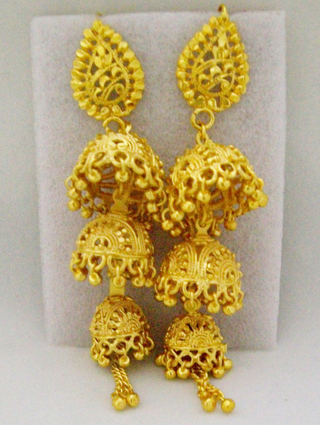 Three Layer Jhumka Earrings