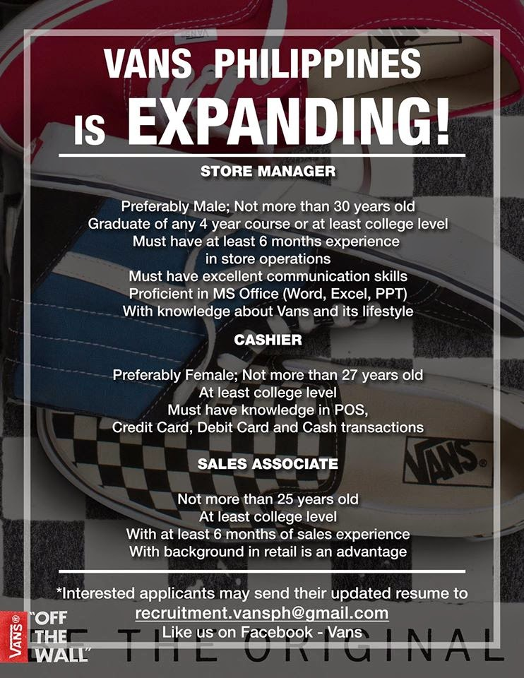 d7387676a72b28 Job Vacancy - Vans Philippines - Santiago City