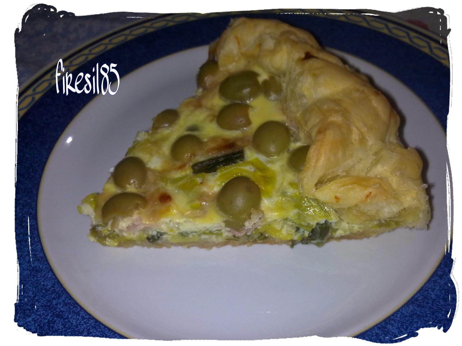 torta salata porri speck e olive nere