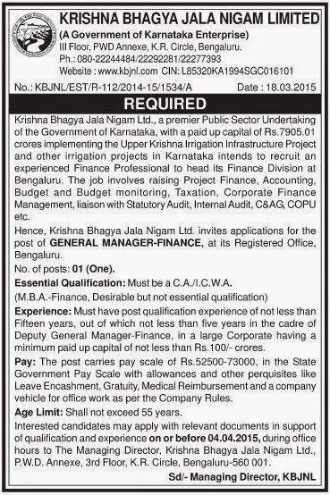 Krishna Bhagya Jala Nigam Ltd (KBJNL) Recruitments (www.tngovernmentjobs.in)