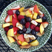 peaches, strawberries, black grapes, raspberries, chicken breast grilled in Italian dressing