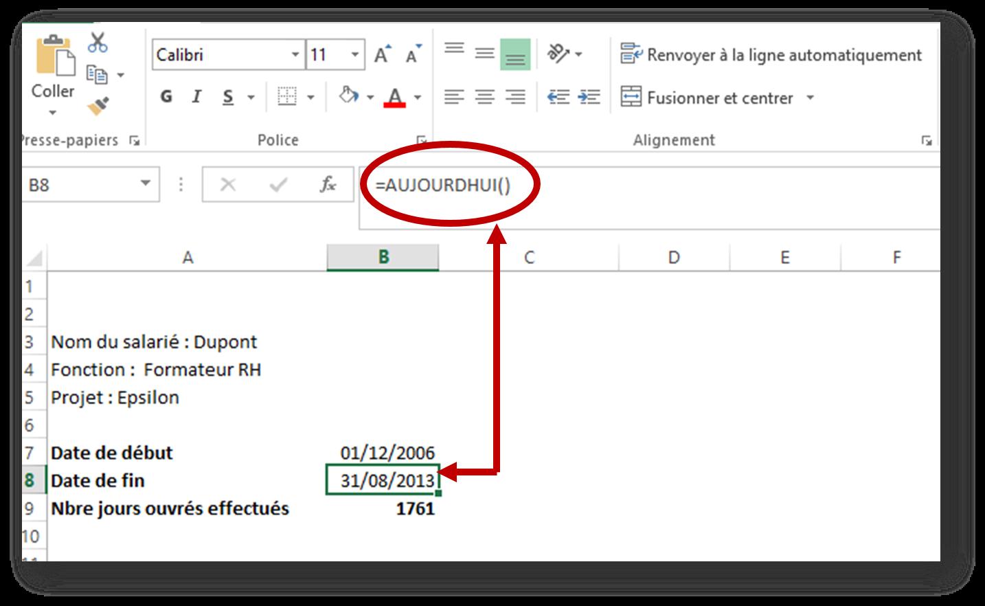 les fonctions de calcul spécifiques dans le logiciel tableau Excel 2013 : la fonction de calcul de dates Aujourd'hui