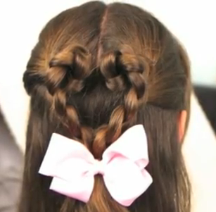 twisted braided heart hair style for girls