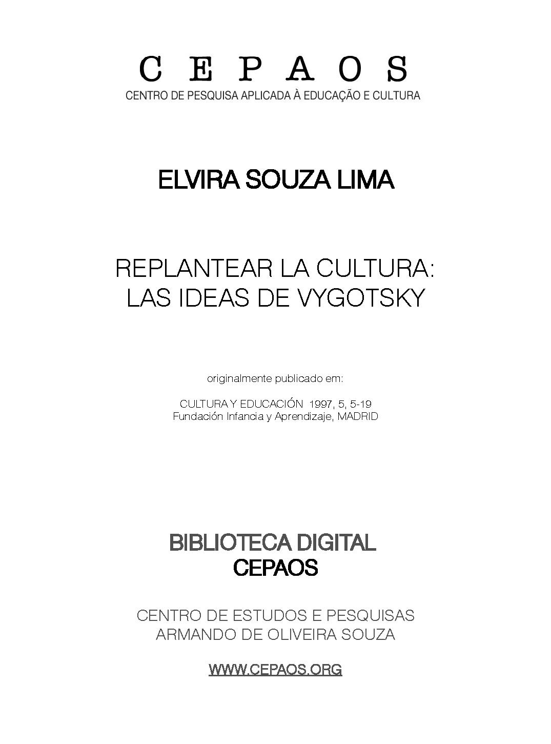 Elvira Souza Lima - Replantear la cultura: las ideas de Vygotsky