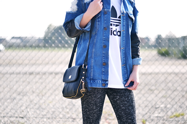 Ripped denim jacket, asos, oversized, adidas, logo t shirt, marc b bag, dylan, knitted trouses, outfit post, fashionblogger