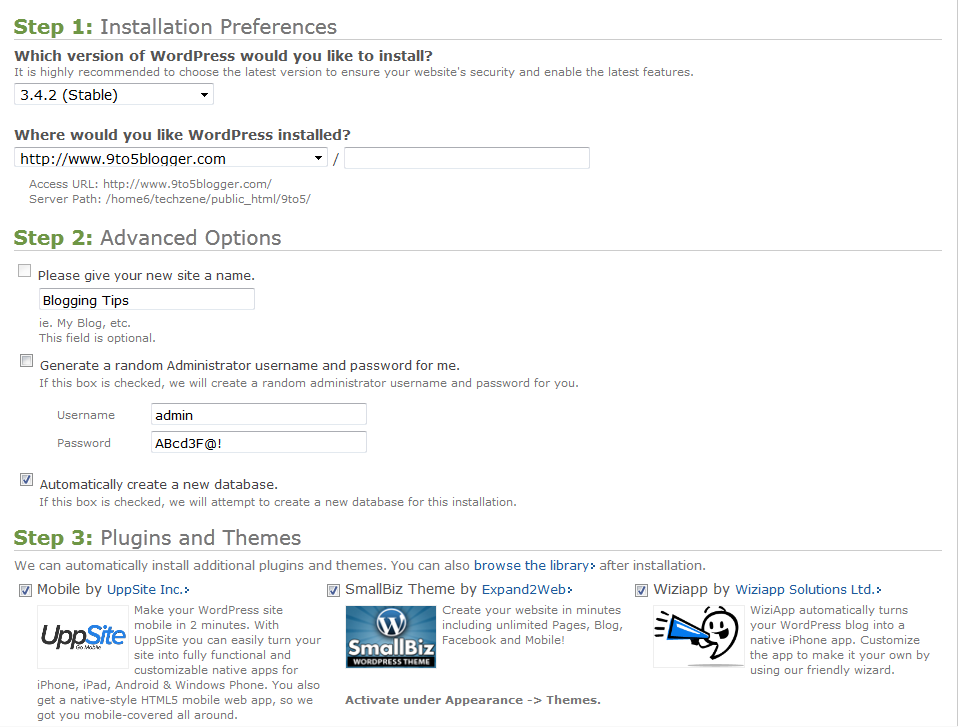 WordPress Installation Settings for Bluehost
