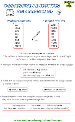 Possessive adjectives comparative superlative