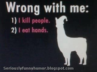 Wrong with me is that I kill people and I eat hands! Funny Meme