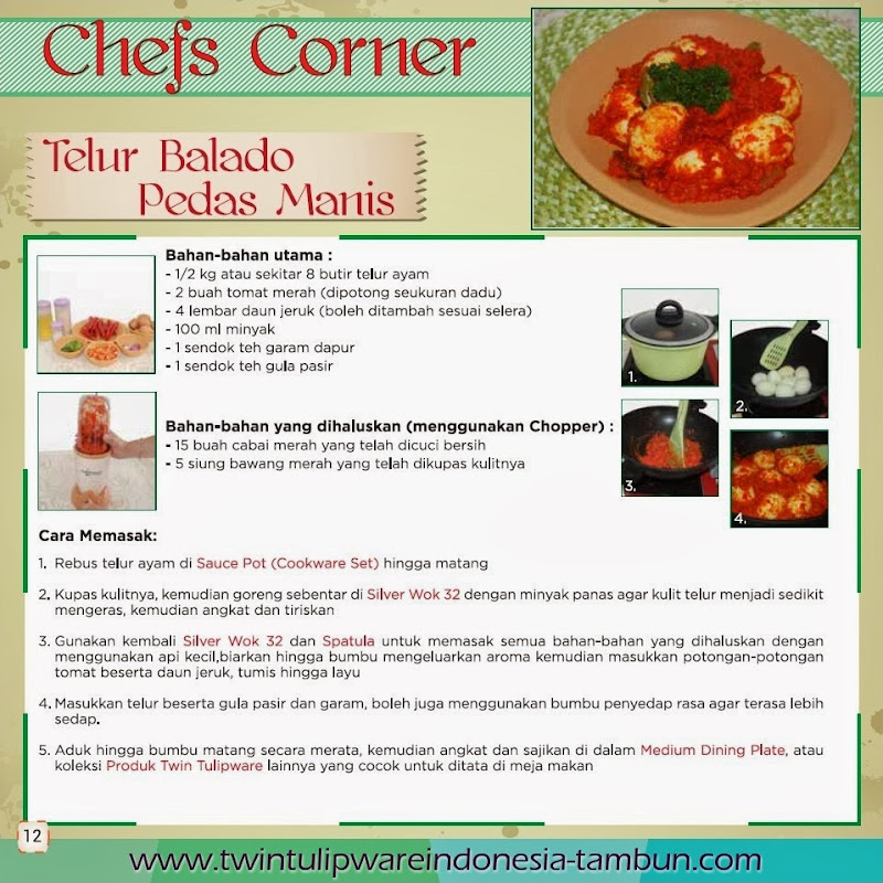 Telur Balado Pedas Manis - Edisi Resep Masakan Twin Tulipware, Cookware Set, Silver Wok 32, Chopper Blender