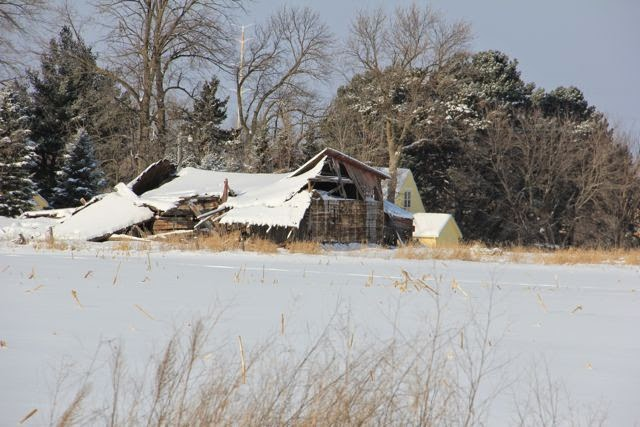 collapsed old barn