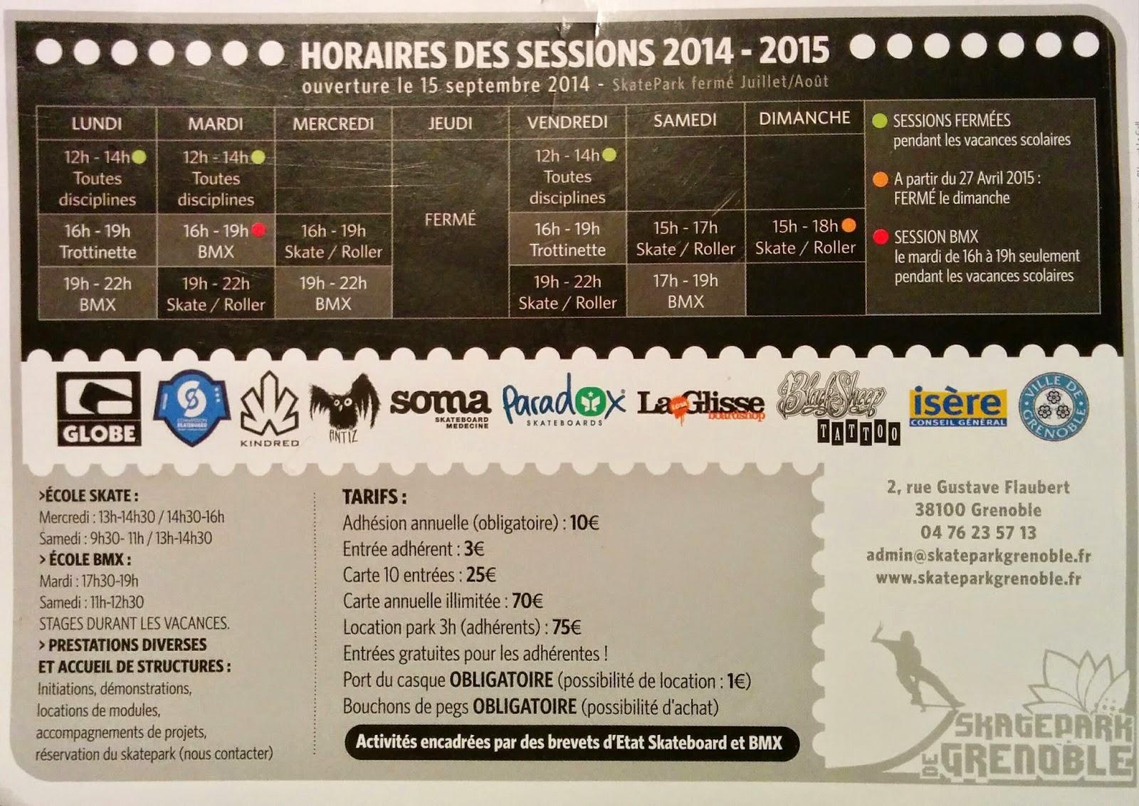 skatepark Grenoble La Bifurk horaires tarifs