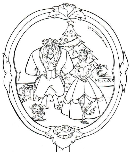 Disney coloring pages christmas coloring page beauty and - Dessin a colorier noel disney ...