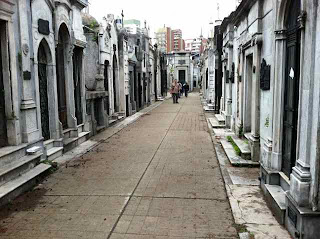 Recoleta Cemetery, endlessly eerie and fascinating with its thousands of mausoleums and fabulous statues.