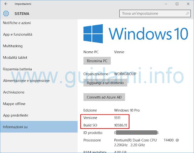 Vedere versione Windows 10 da Impostazioni