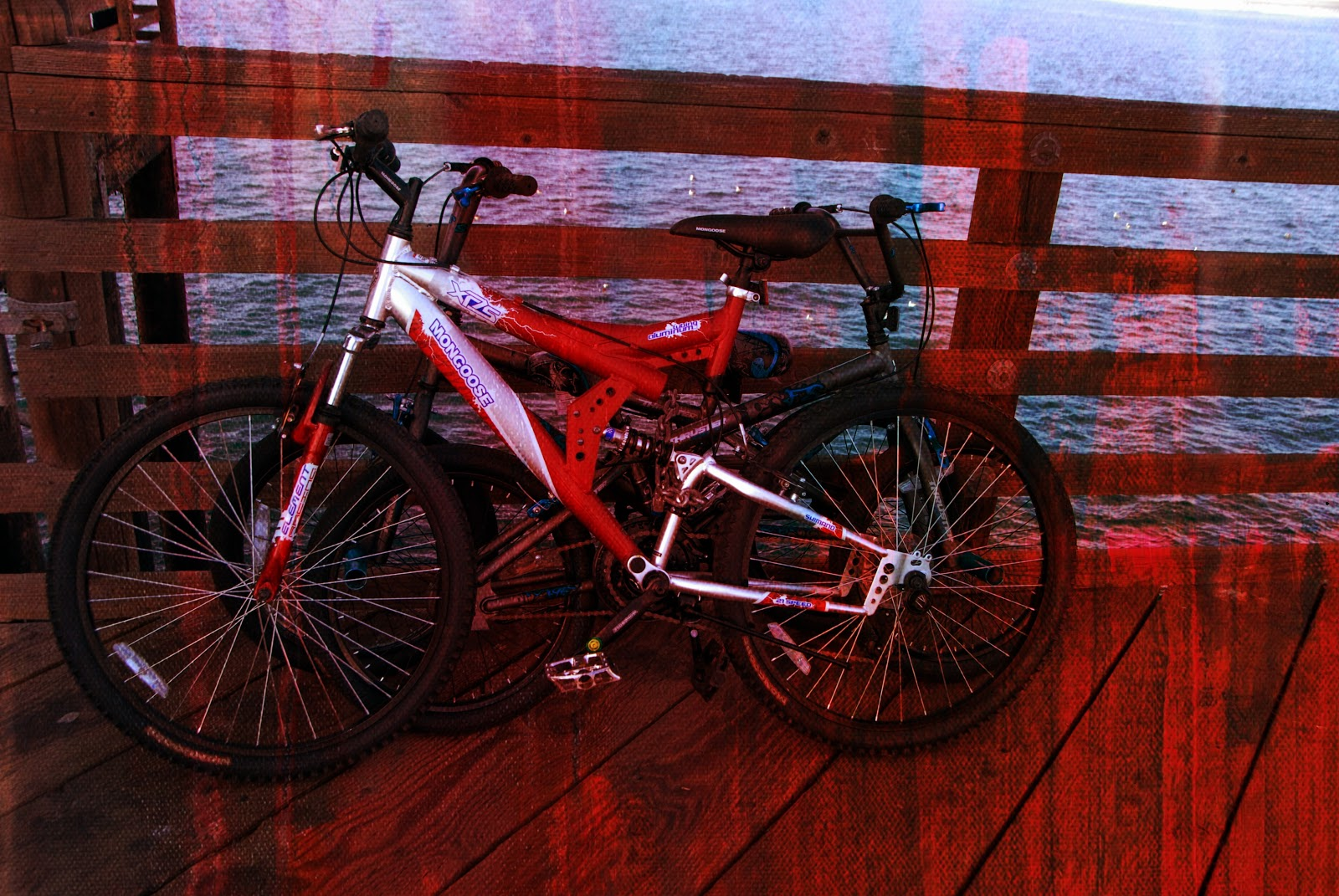 photo editing of two bicycles at the pier
