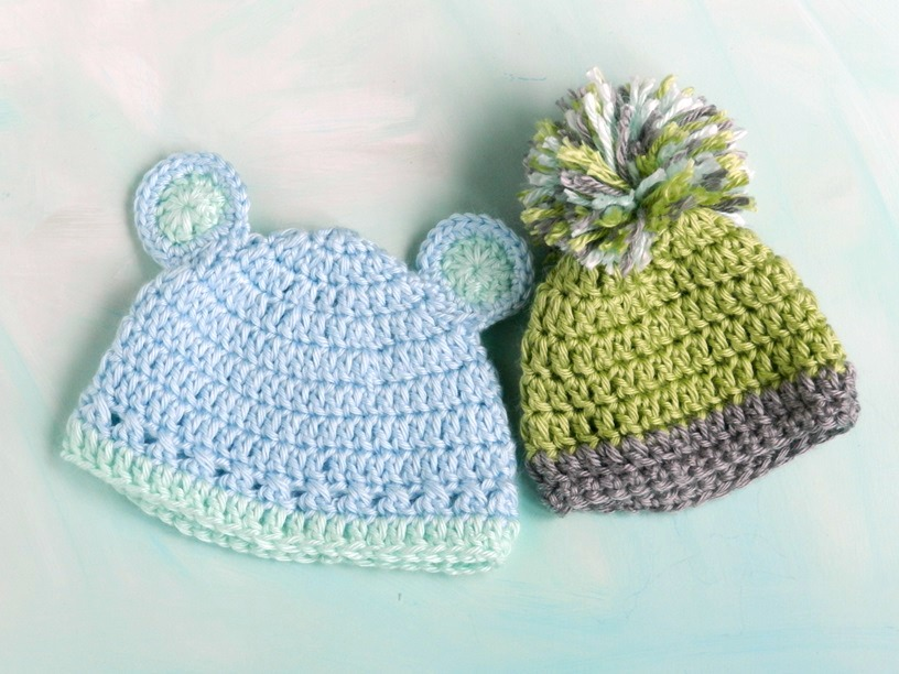 Baby Boy Hats: Crochet Bear and Pom- Grow Creative