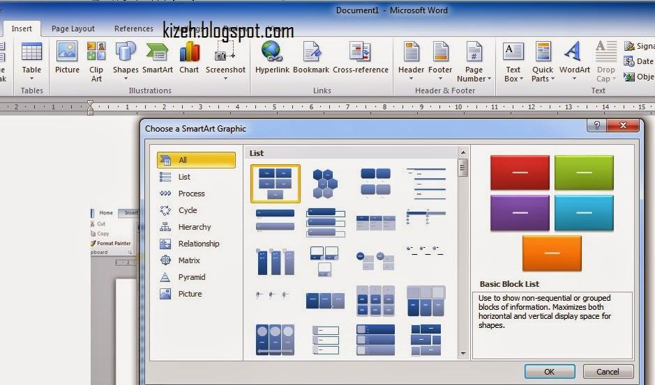 Tab insert microsoft word 2010