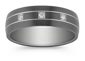 Round diamond ring in black titanium