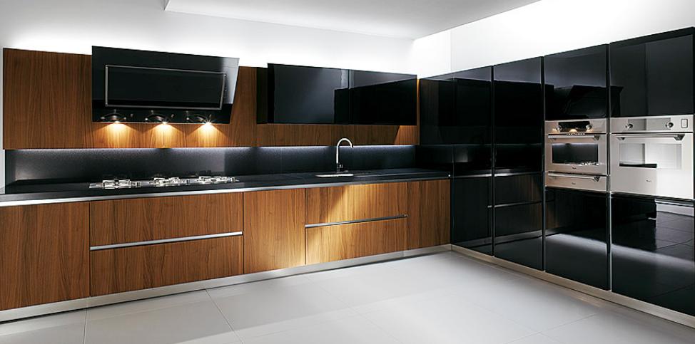 Cocinas angulares para espacios m s grandes cocinas con for Cocinas modernas negras