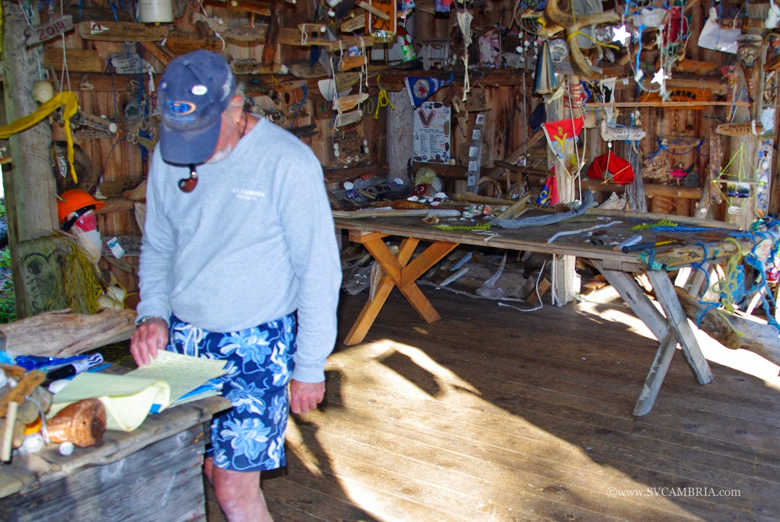 David reading the guest book at the kayakers' cabin in Octopus Islands Marine Park.