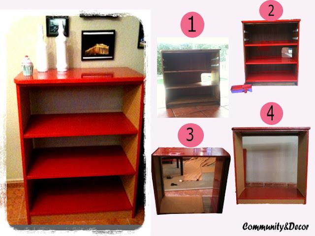 Pasos de bricolaje y resultado de reciclar, pintar y tapizar un mueble viejo