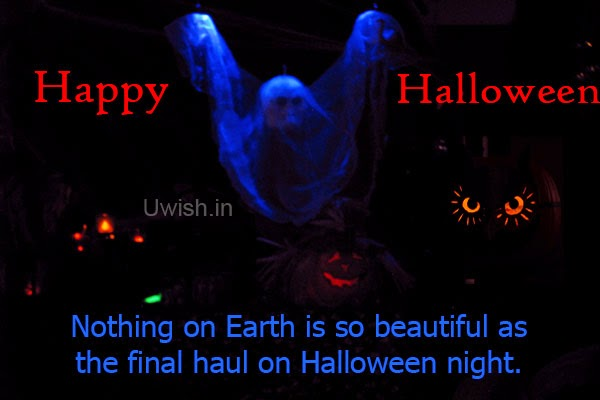 Happy Halloween e greeting cards and wishes with dark Halloween special decorations.