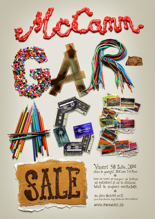 garage sale poster made out of pencils,tapes,beads,wire and garbage