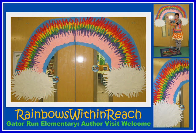 photo of:oard from Hphoto of: Rainbow Bulletin Board from Handprint Cut Outs for School Visit to welcome RainbowsWithinReach