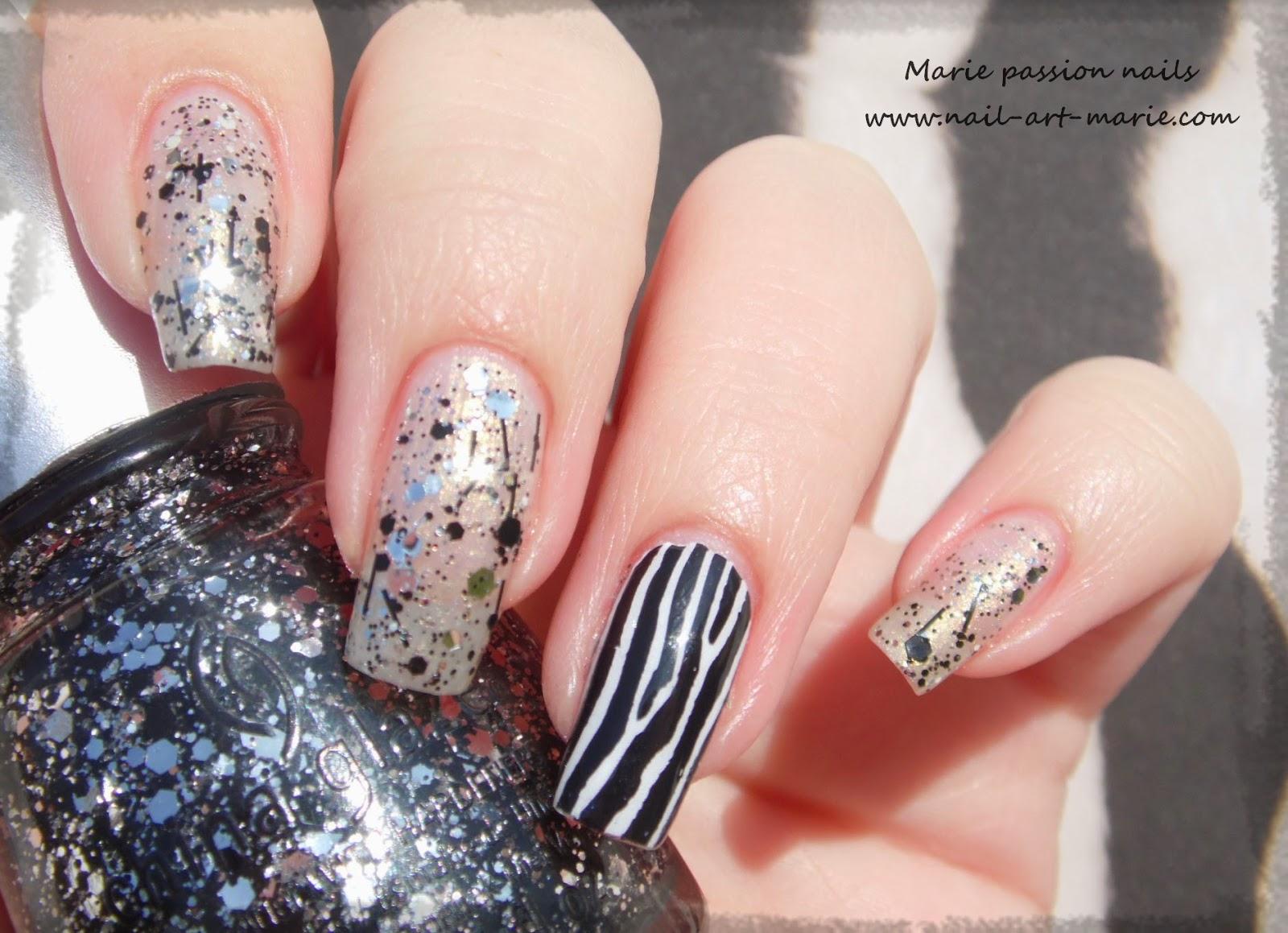 Nail art accent nail zébré6