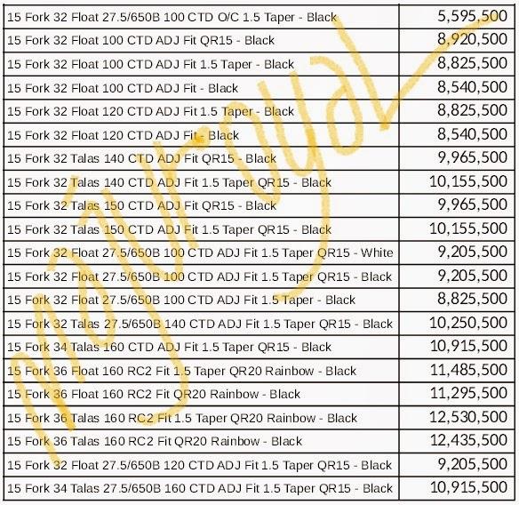 Daftar Harga Fork Fox 2015 Sebelum Discount
