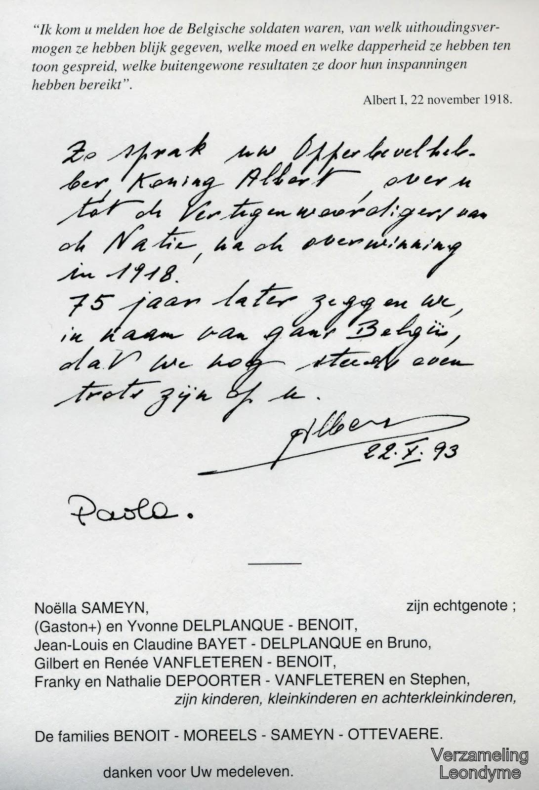 Bidprentje van oud-strijder/vuurkruiser Camille Benoit met geschreven tekst van het koningspaar.